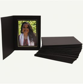 Pack of 50, Black Photo Folder for 5x7 Picture with Gold Lining