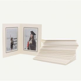Pack of 50, Ivory Photo Folder for Two 4x6 Pictures with Black Lining