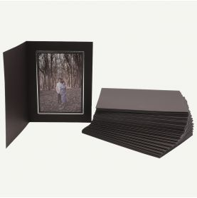 Pack of 50, Black Photo Folder for 5x7 Picture with Silver Lining