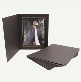 Pack of 25, Black Photo Folder for 6x8 Picture with Gold Lining