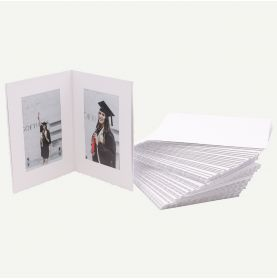 Pack of 50, White Photo Folder for Two 4x6 Pictures