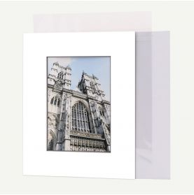 Pack of 50, 8x10 Pre-cut Mat with Blackcore fits 5x7 Picture + Backing + Bags