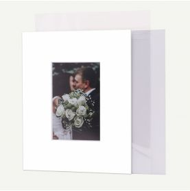Pack of 50, 8x10 Pre-cut Mat with Whitecore fits 4x6 Picture + Backing + Bags