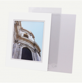 Pack of 100, 11x14 Pre-cut Double Mat with Whitecore fits 8x10 Picture + Backing + Bags.