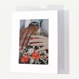 Pack of 100, 12x16 Pre-cut Mat with Whitecore fits 8x12 Picture + White Foam Board + Bags.