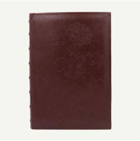 Faux Leather Maroon Photo Album with Floral Design for 300 4x6 Pictures