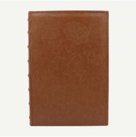 Faux Leather Brown Photo Album with Floral Design for 300 4x6 Pictures