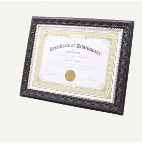 """8.5x11 Black Silver Polystyrene 1 1/4"""" Diploma Frame for 8.5x11 Picture"""