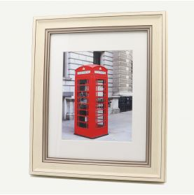"""11x14 Cream Polystyrene 2 1/4"""" Frame for 8x10 Picture and White Mat"""