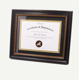 "8x10 Black Polystyrene 1/4"" Diploma Frame for 6x8 Picture and Tricom Black/ Old Gold Mat"