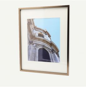 """11x14 Brown Aluminum 3/8"""" Frame for 8x10 Picture and Ivory Mat"""