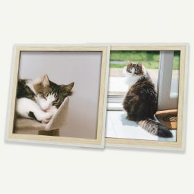 8x8 White/Beige MDF Frame for 8x8 Picture, Set of 2