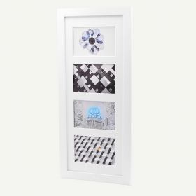 """8x20 White Wood 1"""" Frame for 4x6 Picture and White Mat"""
