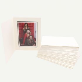 Pack of 50, Ivory Photo Folder for 5x7 Picture with Black Lining