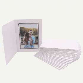 Pack of 50, White Photo Folder for 5x7 Picture with Black Lining