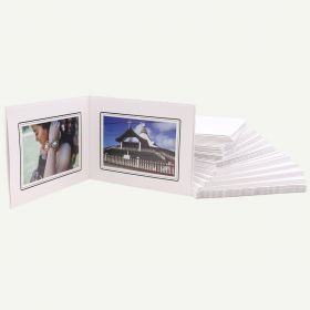 Pack of 50, White Photo Folder for Two 6x4 Pictures with Black Lining