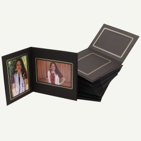 Pack of 50, Black Photo Folder for 4x6 and 6x4 Picture with Gold Lining