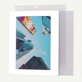 Pack of 100, 11x14 Pre-cut Mat with Whitecore fits 8x12 Picture + White Foam Board + Bags.