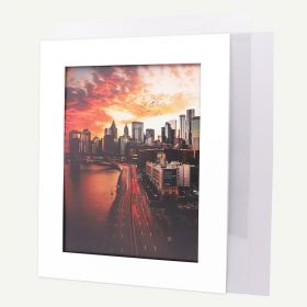Pack of 50, 16x20 Pre-cut Mat with Whitecore fits 12x16 Picture + White Foam Board + Bags.