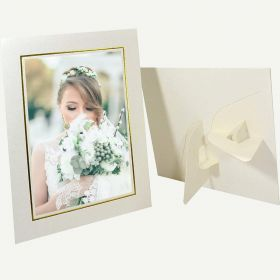Pack of 25, Ivory Photo Folder with Easel Stand for 4x6 Photo with Gold Lining