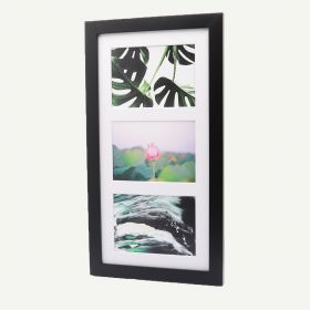 "9x18 Black Wood 1"" Frame for 5x7 Picture and White Mat"