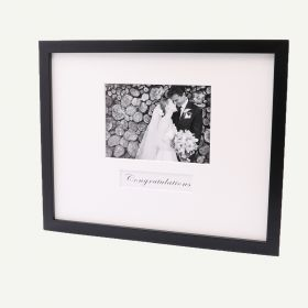 "11x14 Black Wood 3/4"" Frame for 5x7 Picture and White Mat"