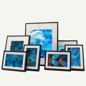 "Gallery Wall Set of 7 Black Aluminum 1/4"" Frames"