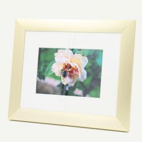 "8x10 Gold Aluminum 1 1/8"" Frame for 5x7 Picture and Ivory Mat"