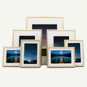 """Gallery Wall Set of 7 Gold Aluminum 1/4"""" Frames and Ivory Mat"""