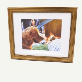 "11x14 Gold Polystyrene 1 1/8"" Frame for 8x10 Picture and White Mat"