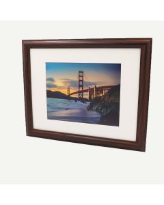 "11x14 Walnut MDF 1 1/4"" Frame for 8x10 Picture and Ivory Mat"