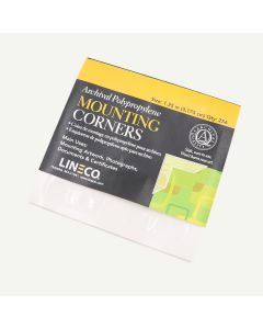 "Lineco Self-Adhesive Polypropylene Mounting Corners - 1.25"" Clear (256/Pkg.) Full View."