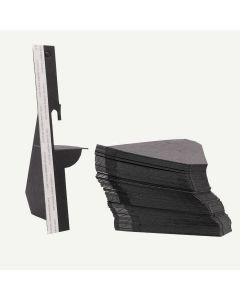 Single Wing 7 Inch Black Self-Stick Easel Back, Pack of 50.