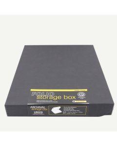 Lineco Black Faux Leather Archival Folio Storage Box, 11.5 x 14.5 x1.75 inch