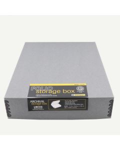 "Lineco Archival 11x14"" Print Storage Box, Drop Front Design, Exterior Color: Blue / Gray."