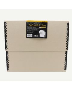"Lineco Document Case, Tan - Letter 5"" Wide - Metal Edge"