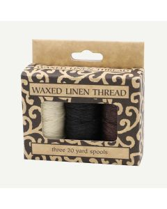 Lineco Waxed Linen Thread in Natural, Black, Brown