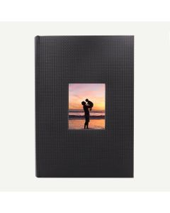 Faux Leather Black Geometric Photo Album for 300 of 4x6 Pictures