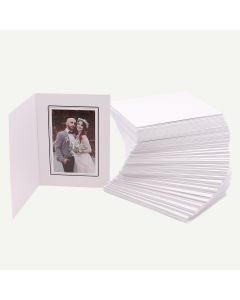 Pack of 100, White Photo Folder for 4x6 Picture with Black Lining