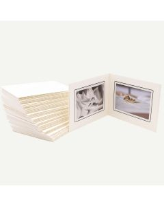 Pack of 50, Ivory Photo Folder for Two 6x4 Pictures with Black Lining