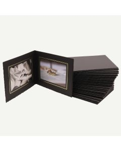 Pack of 50, Black Photo Folder for Two 4x6 Pictures with Gold Lining