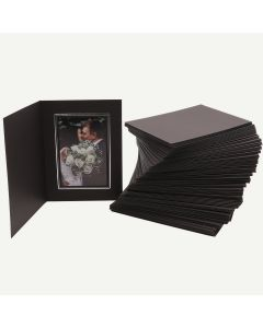 Pack of 100, Black Photo Folder for 4x6 Picture with Silver Lining