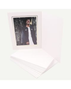 Pack of 25, White Photo Folder for 6x8 Picture with Gold Lining