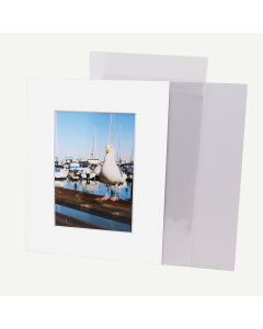 Pack of 100, 8x10 Pre-cut Mat with Whitecore fits 5x7 Picture + White Foam Board + Bags