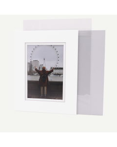 Pack of 50, 8x10 Pre-cut Double Mat with Whitecore fits 5x7 Picture + Backing + Bags