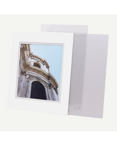 Pack of 50, 11x14 Pre-cut Double Mat with Whitecore fits 8x10 Picture + Backing + Bags.