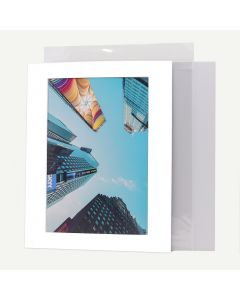 Pack of 50, 11x14 Pre-cut Mat with Whitecore fits 8x12 Picture + Backing + Bags.