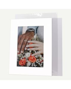 Pack of 50, 12x16 Pre-cut Mat with Whitecore fits 8x12 Picture + White Foam Board + Bags.