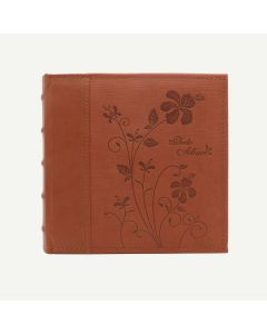 Faux Leather Brown Photo Album with Floral Design for 200 4x6 Pictures