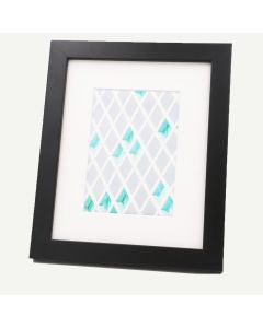 """8x10 Black Wood 1"""" Frame for 5x7 Picture and White Mat"""
